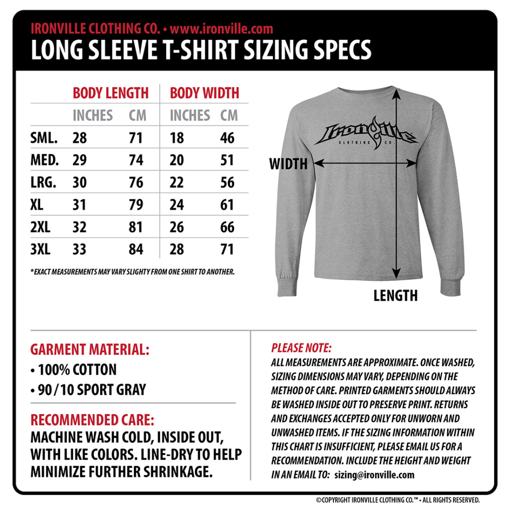 Ironville Size Charts Gym Apparel Measurments