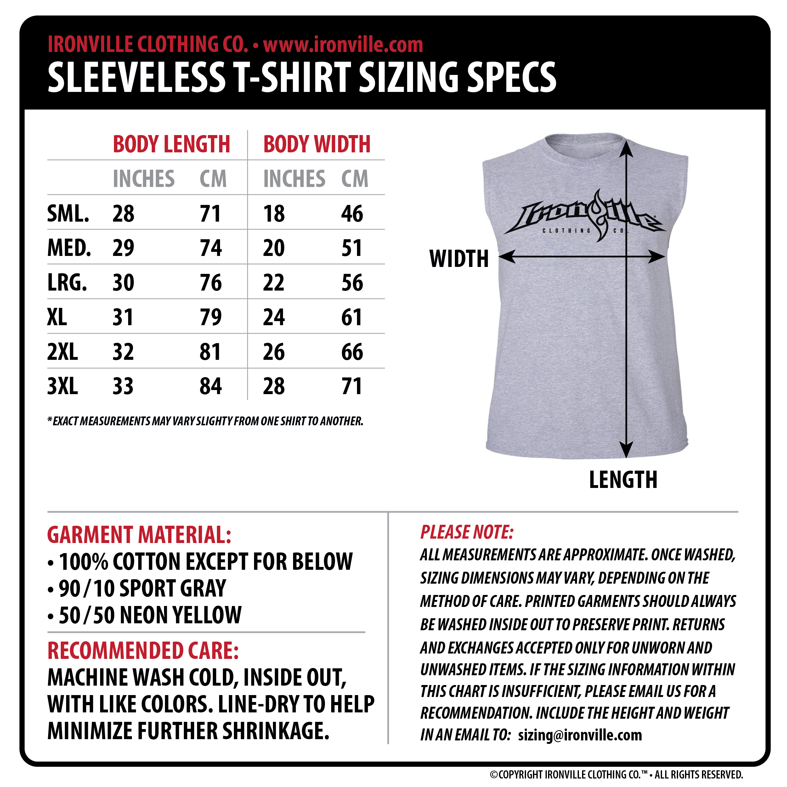 Please Note More Size Charts For Other Garment Styles Coming Soon