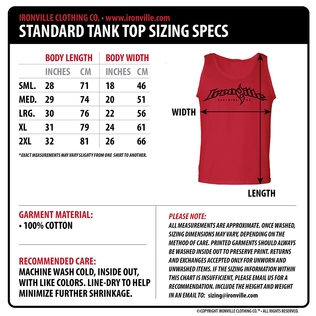 Ironville size charts gym apparel measurments ironville clothing please note more size charts for other garment styles coming soon nvjuhfo Images