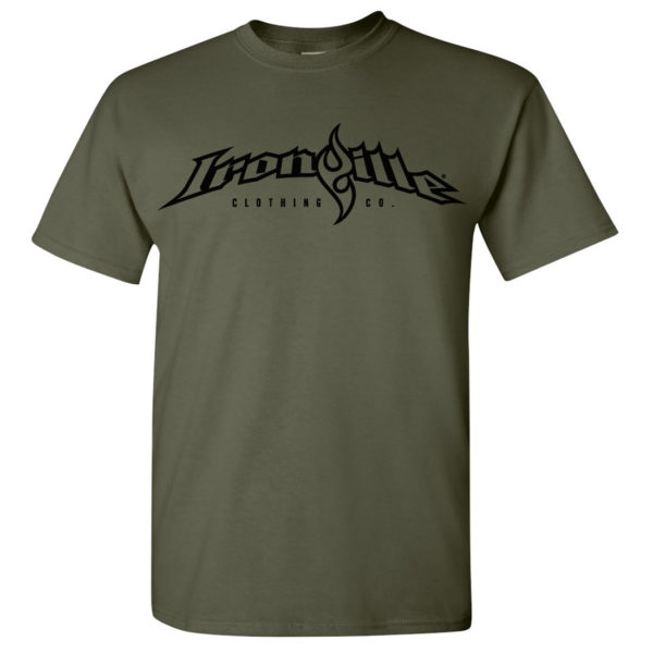 Ironville T Shirt Full Horizontal Logo Front Military Green