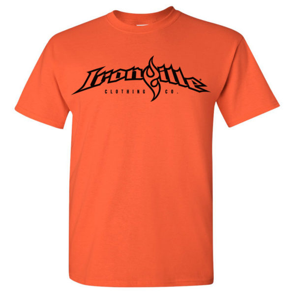 Ironville T Shirt Full Horizontal Logo Front Orange