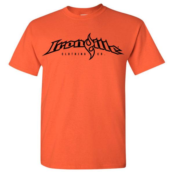 Ironville T Shirt Full Horizontal Logo Front Orange