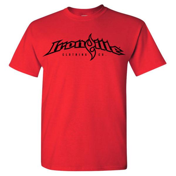 Ironville T Shirt Full Horizontal Logo Front Red