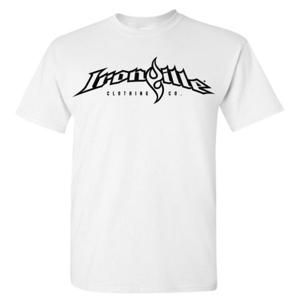 Ironville T Shirt Full Horizontal Logo Front White