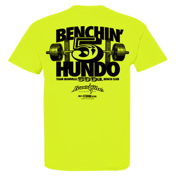 500 Bench Press Club T Shirt Neon Yellow