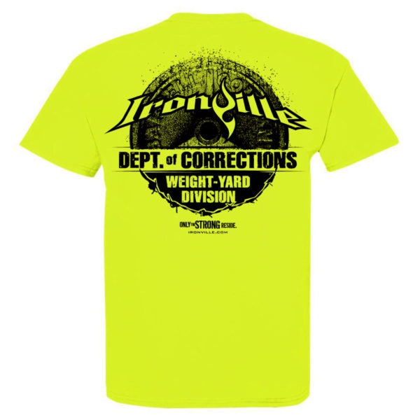 Department Of Corrections Prison Gym T Shirt Neon Yellow