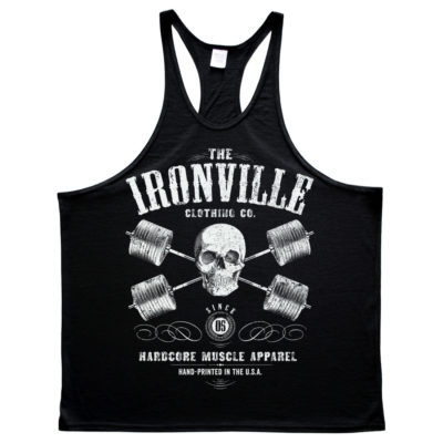 Heavy Iron Outlaw Skull Barbells Powerlifting Stringer Tank Top Black