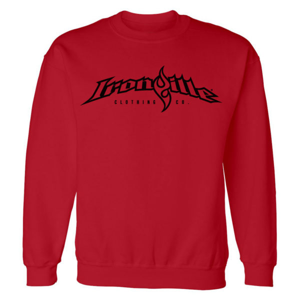 Ironville Gym Sweatshirt Full Horizontal Logo Front Red