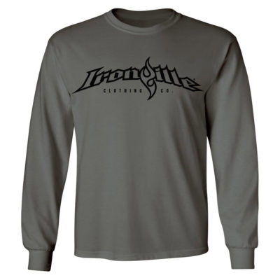 Ironville Long Sleeve T Shirt Full Horizontal Logo Front Charcoal Gray