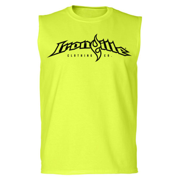 Ironville Sleeveless T Shirt Full Horizontal Logo Front Neon Yellow