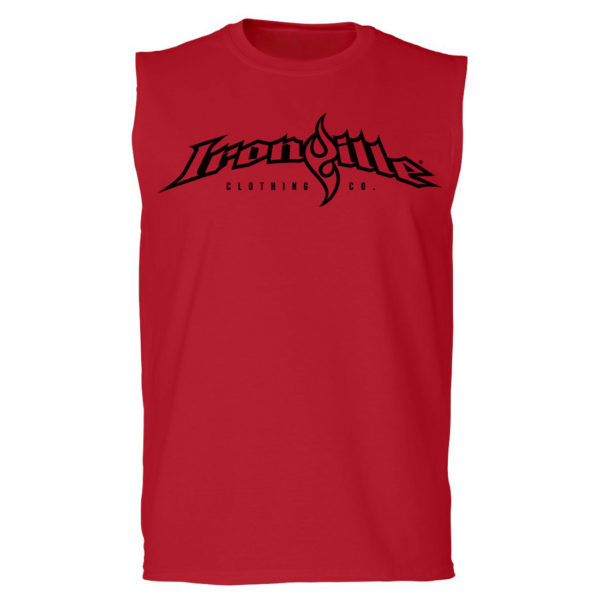 Ironville Sleeveless T Shirt Full Horizontal Logo Front Red