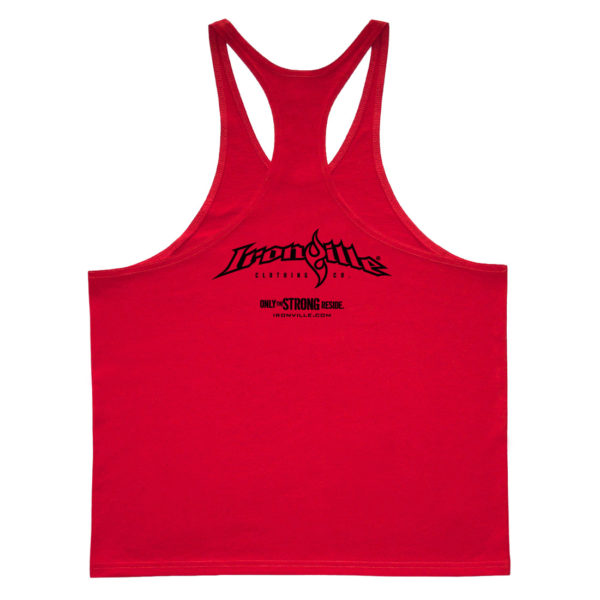 Ironville Stringer Tank Top Full Horizontal Logo Back Red