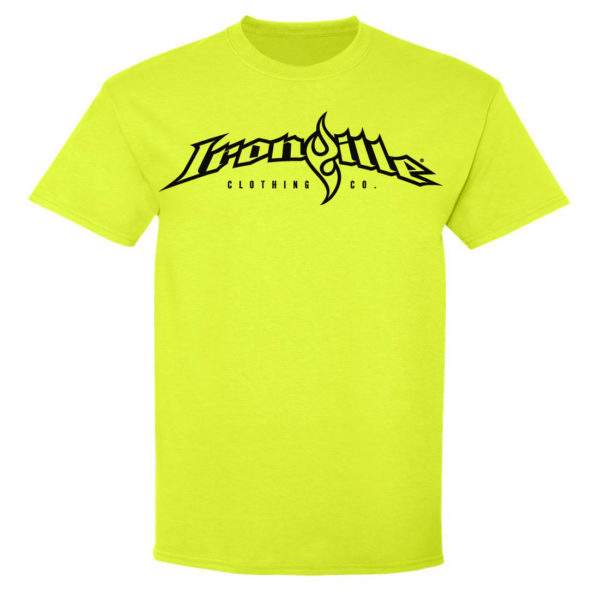 Ironville T Shirt Full Horizontal Logo Front Neon Yellow