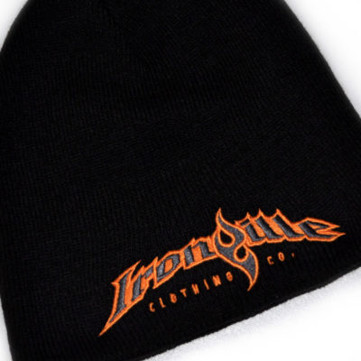Ironville Weightlifting Gym Beanie Black Orange Charcoal