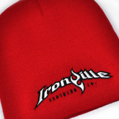 Ironville Weightlifting Gym Beanie Red Black White