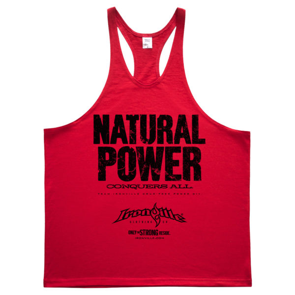 Natural Power Conquers All Powerlifting Stringer Tank Top Red