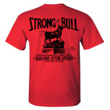 Strong Like Bull Powerlifting Gym T Shirt Red