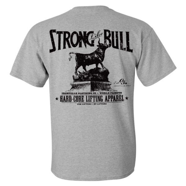 Strong Like Bull Powerlifting Gym T Shirt Sport Gray