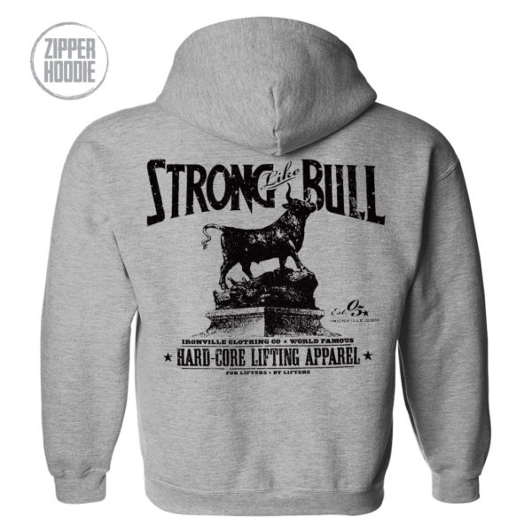 Strong Like Bull Powerlifting Gym Zipper Hoodie Sport Gray