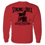 Strong Like Bull Powerlifting Long Sleeve Gym T Shirt Red