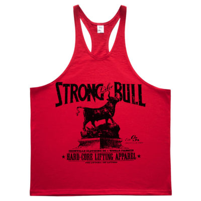 Strong Like Bull Powerlifting Stringer Tank Top Red