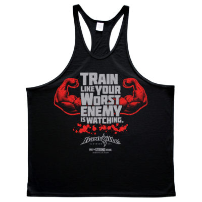 Train Like Your Worst Enemy Is Watching Bodybuilding Stringer Tank Top Black