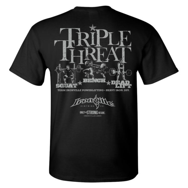 Triple Threat Squat Bench Press Deadlift Powerlifting Gym T Shirt Black