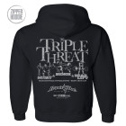 Triple Threat Squat Bench Press Deadlift Powerlifting Gym Zipper Hoodie Black