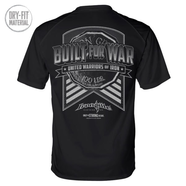 Built For War Bodybuilding Gym Dri Fit T Shirt Black