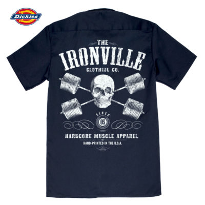Heavy Iron Outlaw Skull Barbells Casual Button Down Powerlifter Shop Shirt Navy Blue