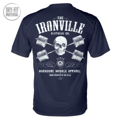 Heavy Iron Outlaw Skull Barbells Powerlifting Gym Dri Fit T Shirt Navy Blue