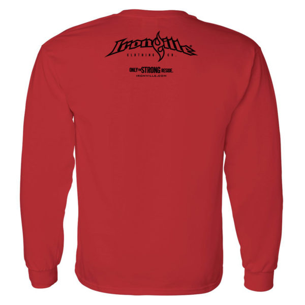 Ironville Long Sleeve Weightlifting T Shirt Back Red
