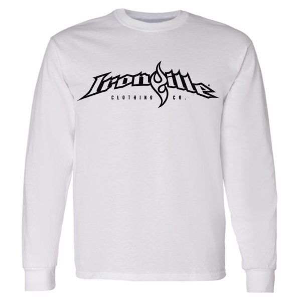 Ironville Long Sleeve Weightlifting T Shirt Full Horizontal Logo Front White