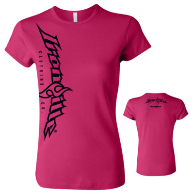 Ironville Vertical Logo Womens Weightlifting Fitness T Shirt Berry Pink