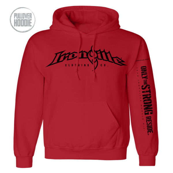 Ironville Weightlifting Hoodie Full Horizontal Logo Front Red