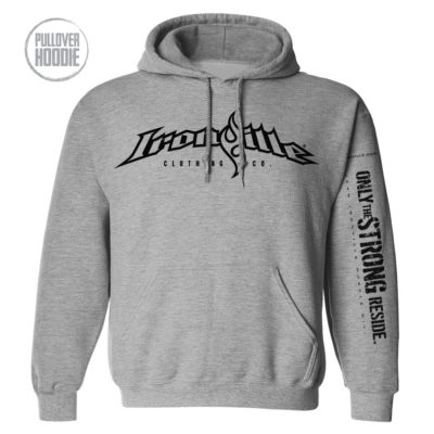 Ironville Weightlifting Hoodie Full Horizontal Logo Front Sport Gray