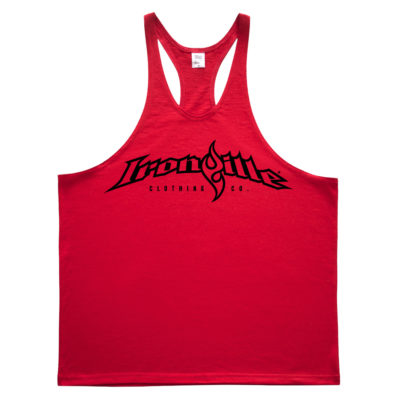 Ironville Weightlifting Stringer Tank Top Full Horizontal Logo Front Red