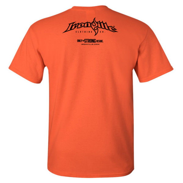 Ironville Weightlifting T Shirt Back Orange