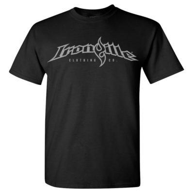 Ironville Weightlifting T Shirt Full Horizontal Logo Front Black