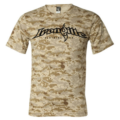 Ironville Weightlifting T Shirt Full Horizontal Logo Front Sand Digital Camo