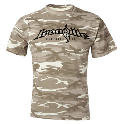 Ironville Weightlifting T Shirt Full Horizontal Logo Front Sand Wood Camo