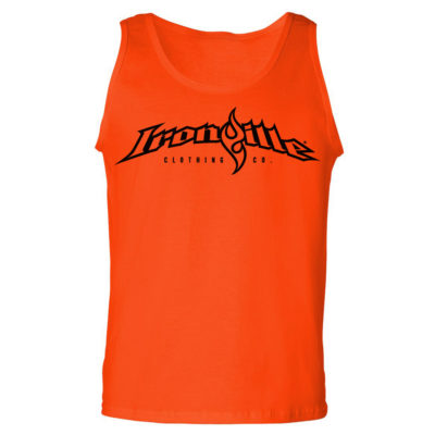 Ironville Weightlifting Tank Top Full Horizontal Logo Front Orange