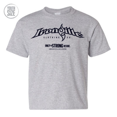 Ironville Weightlifting Youth Kids T Shirt Horizontal Logo Front Sport Gray