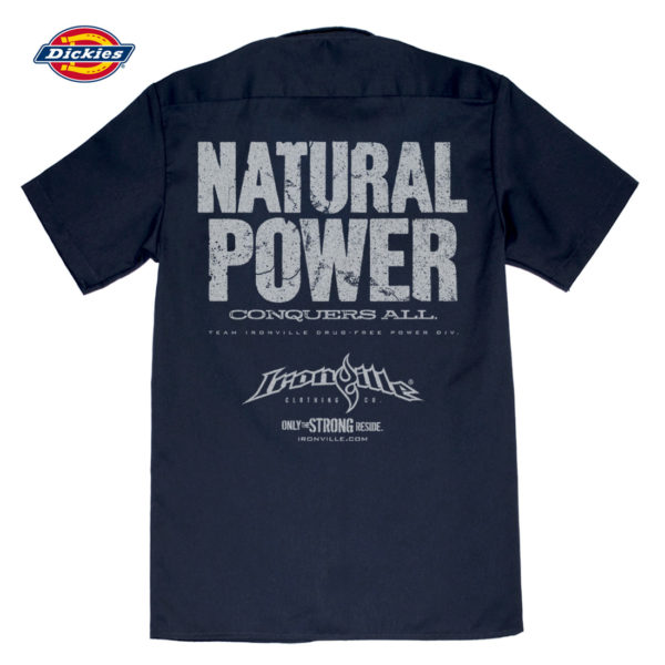 Natural Power Conquers All Casual Button Down Powerlifter Shop Shirt Navy Blue