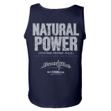 Natural Power Conquers All Powerlifting Gym Tank Top Navy Blue
