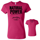 Natural Power Conquers All Womens Powerlifting Fitness T Shirt Berry Pink