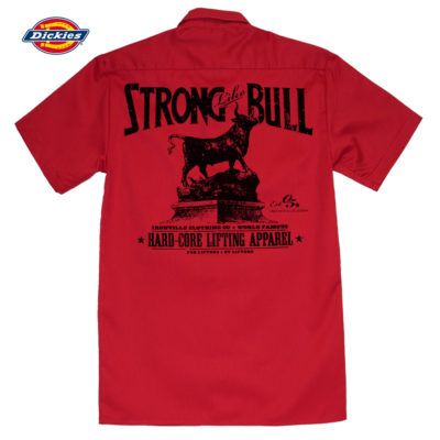 Strong Like Bull Casual Button Down Powerlifter Shop Shirt Red