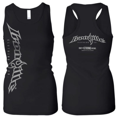 Vertical Logo Womens Weightlifting Workout Tank Top Black