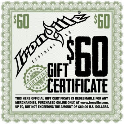 Bodybuilding Gym Apparel Holiday Gift Certificate 60