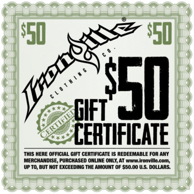 Bodybuilding Gym Clothing Holiday Gift Certificate 50